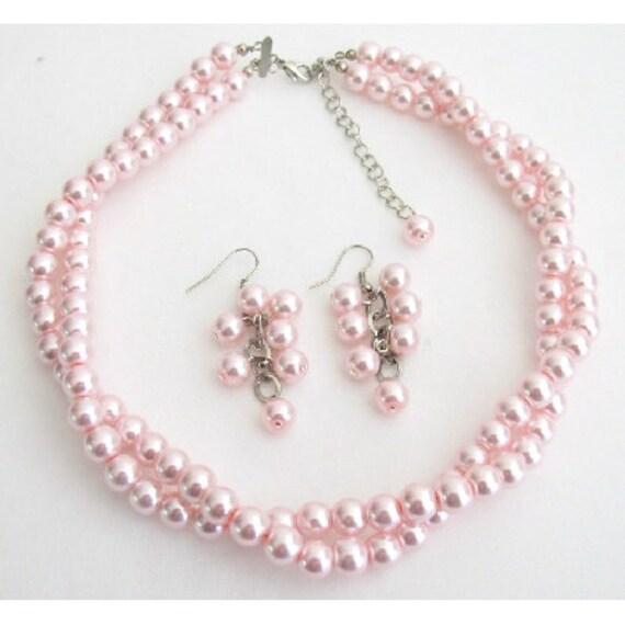 Wedding Bridesmaid Bridal Jewelry Pink Pearl Twisted Necklace, Pink Pearl Necklace, Pink Perl Jewelry Set, Bridesmaid Gift Free Shipping USA