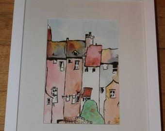 Watercolour Print Terraced Houses with Ink and Wash Style