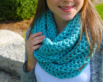 Light teal infinity scarf, blue cowl scarf, blue infinity scarf, baby blue scarf