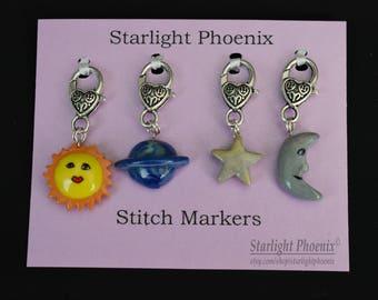 Stitch Markers, Celestial, Galaxy, Solar System, Astrology, Celestial Stitch Markers, Clay Stitch Markers, Yarn Crafts, Knitting, Crocheting