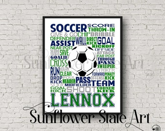 Personalized Soccer Poster, Girls Soccer Typography, Gift for Soccer Players, Soccer Gift, Soccer Team Gift, Soccer Print, Soccer Player Art