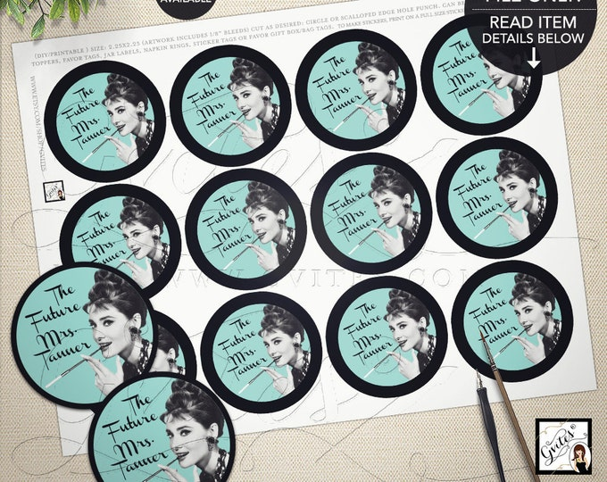 "Audrey Hepburn Popcorn Stickers Party Breakfast at decor tags, stickers, cupcake toppers, PRINTABLE 2.25x2.25"" 12/Per Sheet, Gvites"