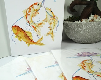 Koi greeting watercolor card blank 5x7 watercolor greeting cards