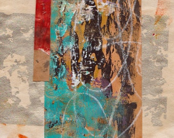 """Beyond The Obvious - Original Collage with Weathered and Hand Drawn and Painted Papers 4 x 4 on 5 x 5"""" Backing"""