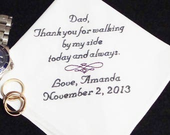Personalized Father of the Bride, Thank You For Walking By My Side Wedding Day Keepsake - Thread Born Memories