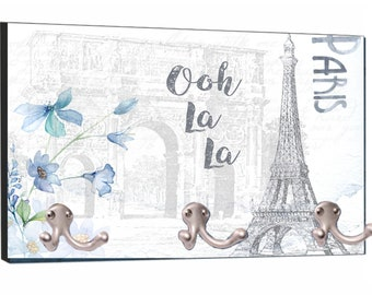 "Vintage Style Ooh La La Paris Parisian French Eiffel Tower Design - 8"" by 16"" Mountable Coat Hanger Rack"