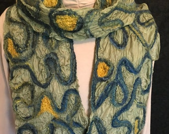 """Nuno Felted """"Stained Glass"""" Silk Scarf"""