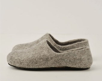 SPRING SALE Handmade eco friendly felted slippers from natural wool - grey-rubber soles