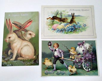 3 Easter Antique Germany Postcards -  Easter Bunny Eggs Chicks Victorian Boy Graphics