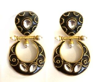 Chandelier Earring, Black Gold Earrings,Kundan Earrings,Wedding Jewellery,Indian Jewelry by TANEESI
