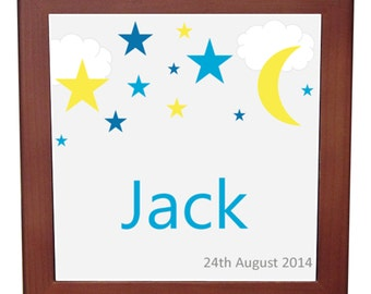Personalised Baby's Name & Birth Date Plaque - Moon and Stars - Baby Boy Keepsake Gift - Birth Announcement - Newborn Gift - Keepsake