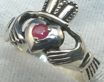 Ruby Claddagh Ring, July Birthstone, Hand Crafted Recycled Sterling Silver, handmade, natural ruby, Irish love loyalty friendship fidelity