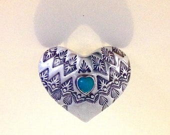 Giant sterling silver heart ring with solid blue opal