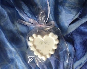 White Heart Shaped Lavender Goats Milk Soap Bar