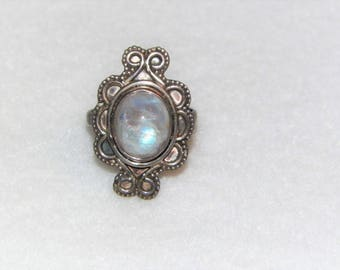 Size 8 Sterling Silver Moonstone Ring, Vintage Estate Moonstone Ring, Unique Bohemian Style