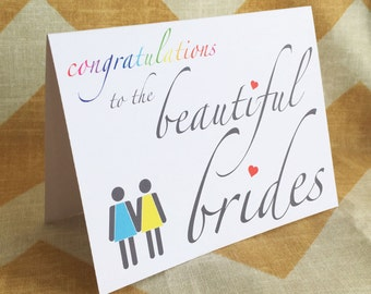 Lesbian Wedding Card - Congratulations to the Beautiful Brides - Gay Commitment Greeting Card