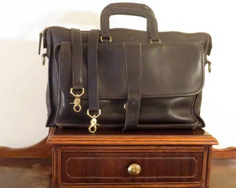 Etsy BDay Sale Coach Harrison Multi-Compartment Briefcase In Black Leather U.S.A. Made - Missing Magnetic Buckle Snap