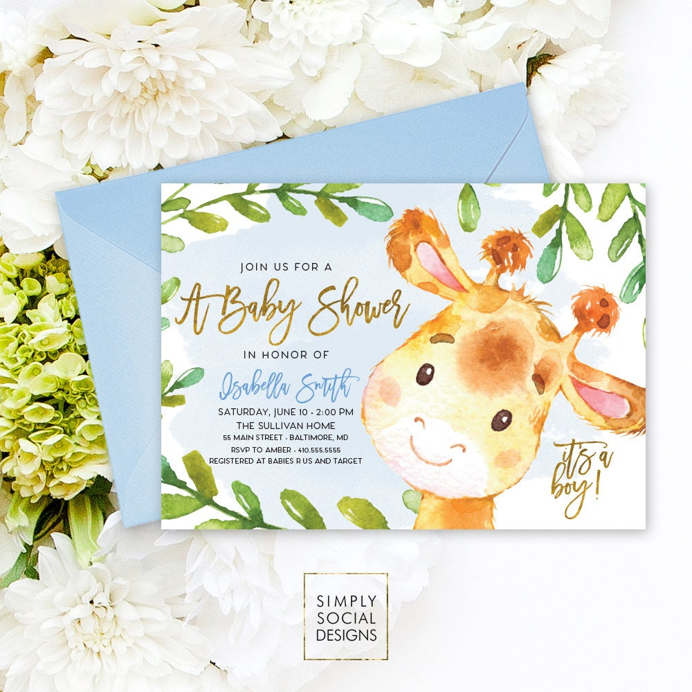 Giraffe Baby Shower Invitation - Blue Boho April Giraffe It\'s A Boy ...