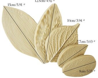 5pcs 3D Leaf Mold Baking Mold Fondant Cake Tool Cabochon Resin Mold Soap Moulds Clay Arts