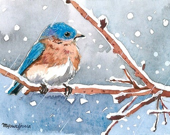 ACEO Limited Edition 6/25 - Bluebird in snow, Bird art print of an original ACEO watercolor, Winter birds, GIft idea for art collectors