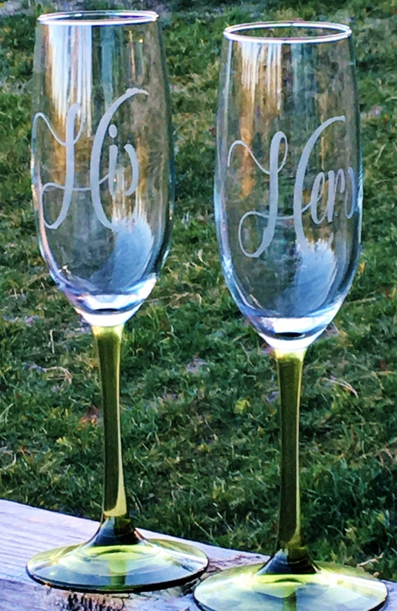 His, Hers, Etched Champagne Glasses, Champagne Flute, Wedding Gift, Anniversary Gift