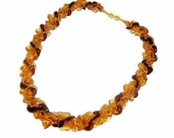 Women's Genuine Baltic amber necklace Amber jewelry macrame Boho chic necklace colored Gemstone Natural stone Statement necklace for adult