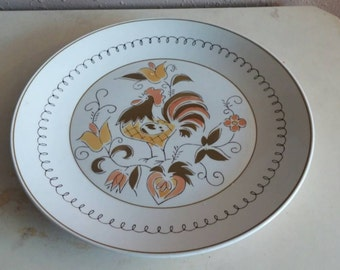 Mikasa Cera Stone Tamago 10 inch Dinner Plate Collectible Kitchen Serving Plate with Rooster Design