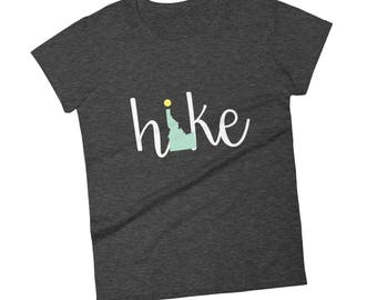 Idaho Shirt, Hike Idaho, T-shirt, State Shirt, Womens Idaho Shirt, Idaho T-Shirt, Red, Heather Grey, Green, Grey, Navy, Womens Hiking Shirt