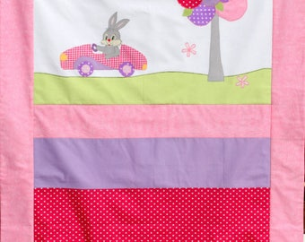 Pink baby blanket, personalized baby quilt, soft baby blanket