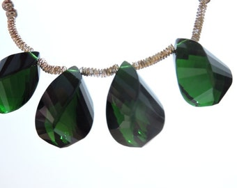 5 Pcs Outrageous Chrome Green Quartz Faceted Twisted Drops Briolette Size 19*10 MM