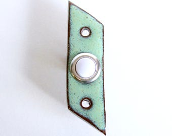 Mid Century Modern Doorbell with Standard Button - Parallelogram Modern - 1 Inch Wide - Aqua Mist - Handmade Ceramic Pottery - MADE TO ORDER