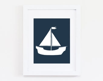 Nautical Nursery Art Print, Nautical Decor, Nautical Wall Art, Navy Nursery - Baby Boy Nursery Art, Kids Wall Art, Set Sail Art Print