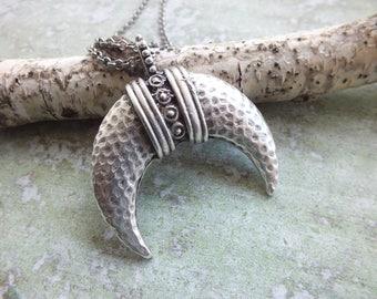 Moon Pendant Necklace Antique Silver Horn Long Necklace Extra Long Necklace Boho Necklace Long Statement Necklace