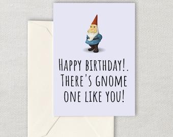 Printable Gnome Birthday Card - Garden Gnome Birthday - Garden Gnome Lover Card - Gnome One Like You - Digital Download