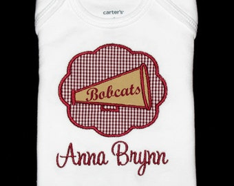 Personalized Applique Gingham Cheer MEGAPHONE Patch and NAME Shirt or Bodysuit - Maroon and Tan Gold Team Colors - Or Choose