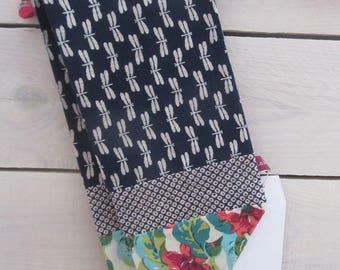 "Headband scarf linen & cotton ""dragonflies"" blue Japanese cotton flowers ""jungle"""