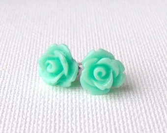 Mint rose stud earrings / surgical steel / mint green earrings / resin roses / girlfriend gift / gift for her / hypoallergenic earrings