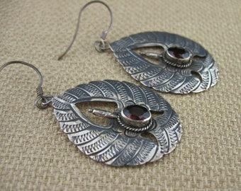 Vintage Sterling Silver Garnet Earrings, Vintage Red Garnet Silver Jewelry, Vintage Red Stone Earrings