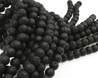 1Full Strand Black Lava Round Beads 6mm 8mm 10mm 12mm Wholesale Gemstone For Jewelry Making
