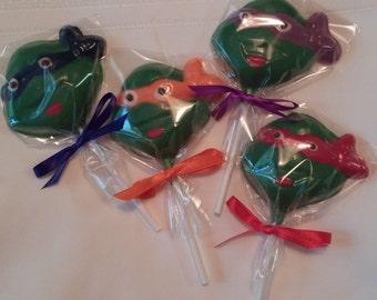Ninja Turtle Chocolate Lollipops