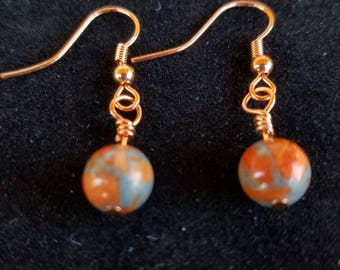Orange Coral & Zinc Earrings