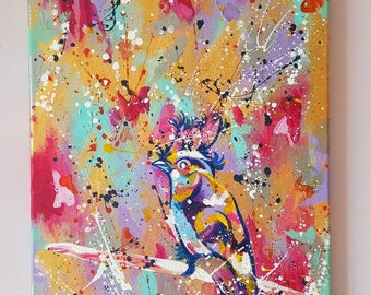 """Canary Song Original Abstract Acrylic Painting 11.8 x 16.5"""""""