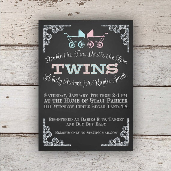 Items similar to chalkboard twin baby shower invitation boygirl items similar to chalkboard twin baby shower invitation boygirl on etsy filmwisefo
