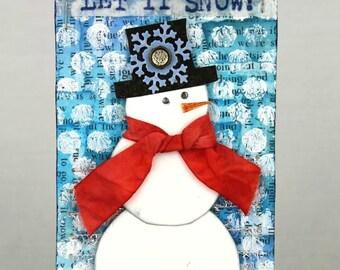 Snowman tag, Christmas tag, snowman ornament, snowman art tag, snowman decor, handmade tag, mixed media snowman, mixed media tag