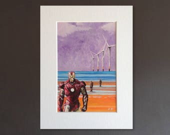 IRONMAN wall art - giclee print of 'Another Stark Place' painting by Stephen Mahoney - Anthony Gormley's Iron Men on Crosby Beach Liverpool