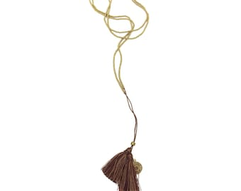 25% OFF Prana necklace (BROWN) - dual tassels at the end of a long antiqued gold beaded cord - so SIMPLE and bohemian