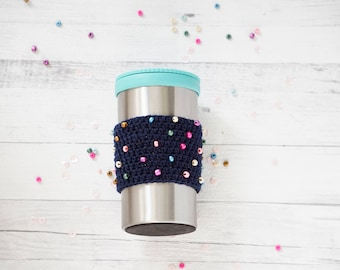 Cup Cozy, blue coffee sleeve, coffee sleeve, blue with bead details, Crochet Coffee Cozy, Coffee Cup Cozy, Knit Coffee Sleeve, ready to ship