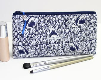 Shark Small Makeup Bag, Gift For Her, Accessory Bag Gift For Woman, Zipper Pouch, Pencil Case,