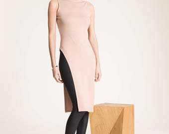 Long Tunic / Fitted Tunic / Sleeveless Long Top / Turtleneck Tunic / Fitted Top / Cool Top /  Asymmetric Tunic / Marcellamoda - MB0818