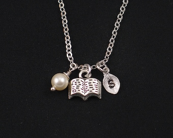 tiny book necklace, sterling silver filled, initial necklace, Swarovski pearl, silver spell book charm, literature gift, birthday, christmas